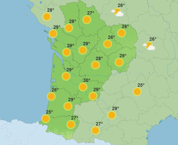 Lundi 19 juillet les températures culmineront à 30°C dans le Lot-et-Garonne.