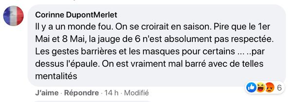 Commentaire sur Facebook d'une habitante de Noirmoutier