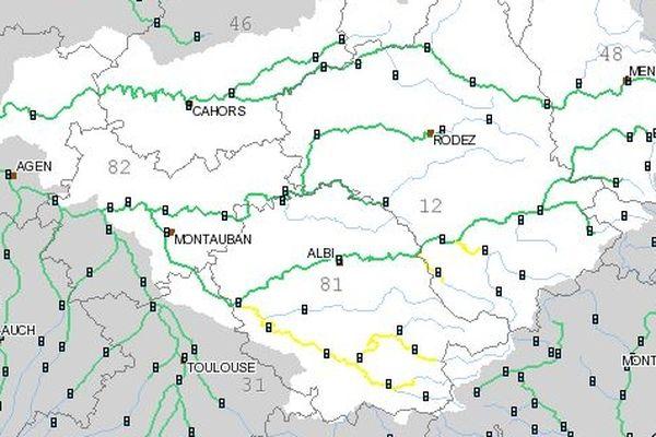 La carte du site de surveillance des crues.