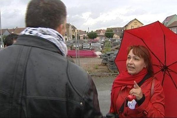 Christine Tasin à l'occasion de l'Aïd el Kébir à Belfort, le mardi 15 octobre 2013.