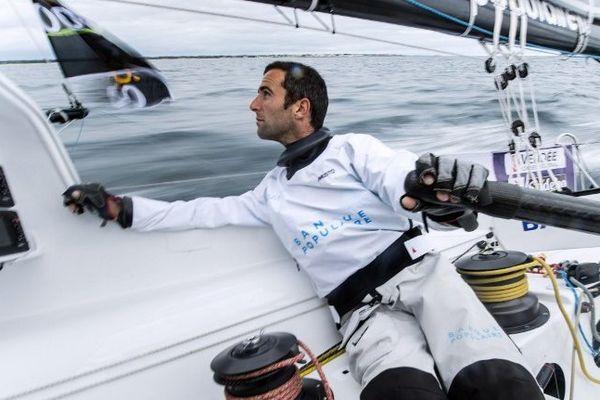 """Armel le Cleac'h à bord de son voilier """"Banque Populaire"""", le 17 septembre 2012, à l'occasion de la 7ème édition du Vendée Globe."""