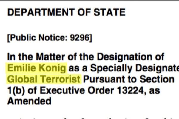 """Le nom d'Emilie König figure dans la liste des  """"combattants terroristes étrangers"""" recherchés par les États-Unis depuis 2015"""