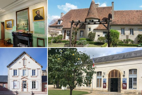 De gauche à droite et de haut en bas : le musée Lansyer à Loches, le musée Emile Chénon à Châteaumeillant, le musée de la guerre de 1870 à Loigny-la-Bataille et le musée de la Marine de Loire.