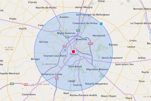 Calcul de la zone de 10 km autour de Poitiers