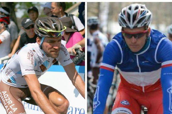 Les deux coureurs Picards qui ont bouclé le Tour de France 2015, Christophe Riblon (g) et Arnaud Démare (d). (Richard Masoner / Cyclelicious et MAXPPP / ASO/G.Demouveaux)