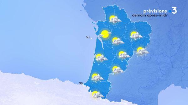 Le temps sera variable alternant entre soleil et nuages porteurs d'averses sous un vent d'Ouest assez soutenu sur les côtes girondines.