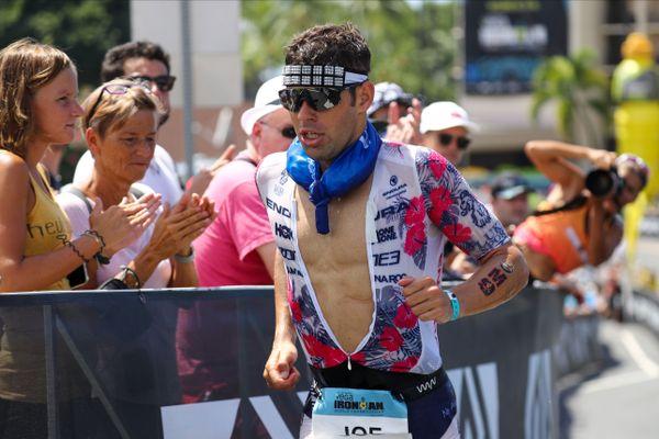 Le triathlète britannique Joe Skipper lors des championnats du monde d'Ironman 2019 à Kailua-Kona (Hawaï).