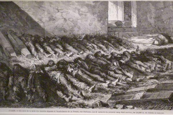 Cadavres de communards déposés dans une salle des ambulances de la Presse.