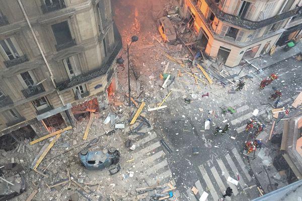 Le 12 janvier 2019 à Paris, les dégâts de l'explosion de gaz de la rue de Trévise.