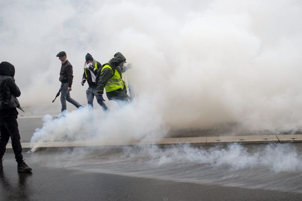 Manifestation des Gilets jaunes à Nantes en décembre 2018