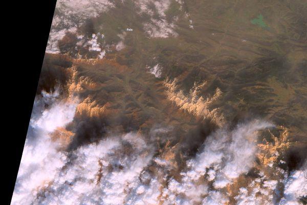 Image des Pyrénées prise par le satellite européen Copernicus Sentinel-2 le 6 février 2021
