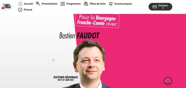 Capture d'écran du site de campagne de Bastien Faudot le 17 mai 2021