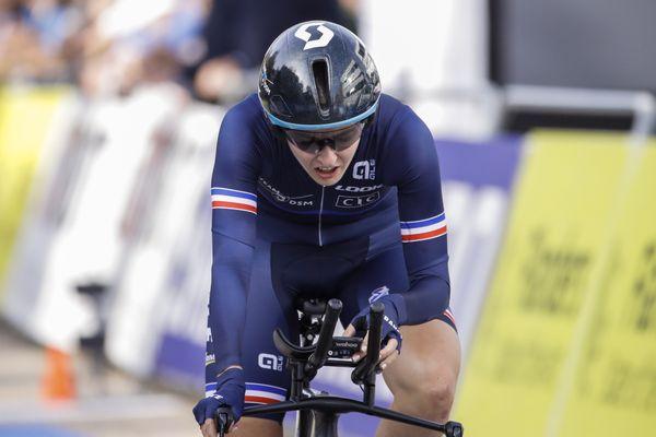 Juliette Labous, 6e du contre-la-montre des mondiaux 2021 dans les Flandres.