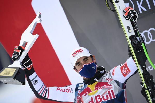Johan Clarey, fier de sa deuxième place décrochée pour la redoutable descente de Kitzbühel, en Autriche.