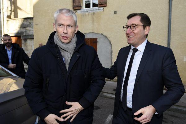 Franck Riester, ministre de la culture, accueilli par Alain Chrétien, maire de Vesoul