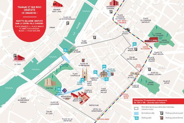 Le plan du centre d'Angers sans voitures le dimanche 19 septembre 2021