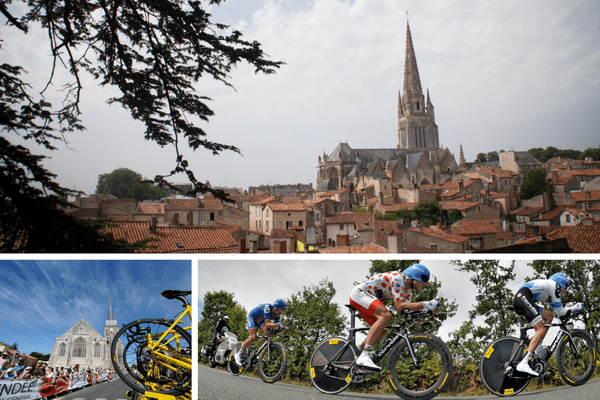 Fontenay-le-Comte, sous-préfecture de Vendée, accueillera l'arrivée de la première étape du Tour 2018, partie de Noirmoutier. Le dernier passage du Tour en Vendée remonte au départ d'Olonne-sur-Mer le 4 juillet 2011 (gauche) et à la victoire, la veille, de la Team Garmin-Cervelo au contre-la-montre par équipe des Essarts (droite), menée par le Norvégien Thor Hushovd, porteur de la tunique à pois.