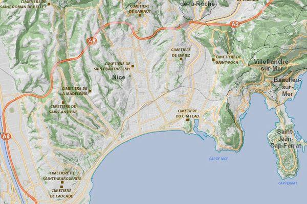L'application de la ville de Nice permet de localiser précisément l'emplacement de chaque défunt.