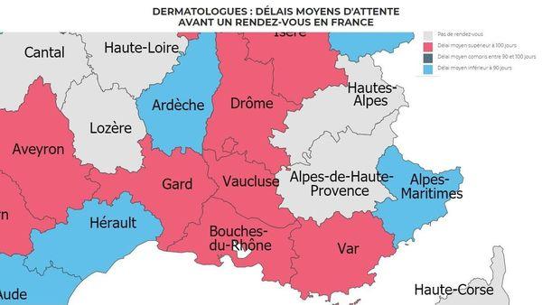 102 jours d'attente dans les Bouches-du-Rhône, 105 dans le Vaucluse, 106 dans le Var et aucune possibilité de prendre un premier rendez-vous avec un dermatologue dans les deux départements alpins.