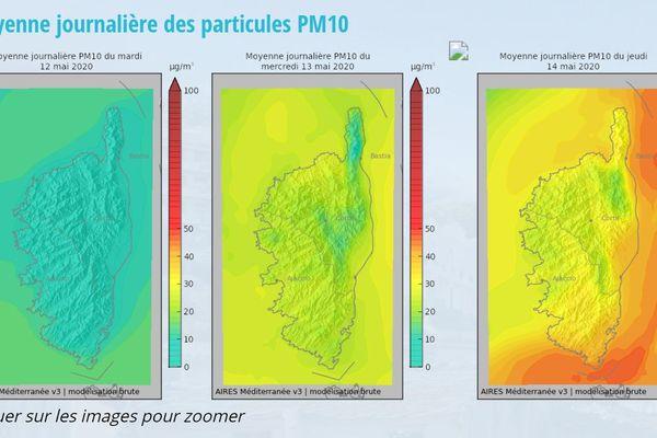 Prévisions de pollution aux particules fines pour la Corse.