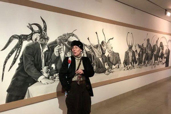 """Mad Meg devant """"Feast of fools"""", 9m x 1,5m, encre de Chine."""