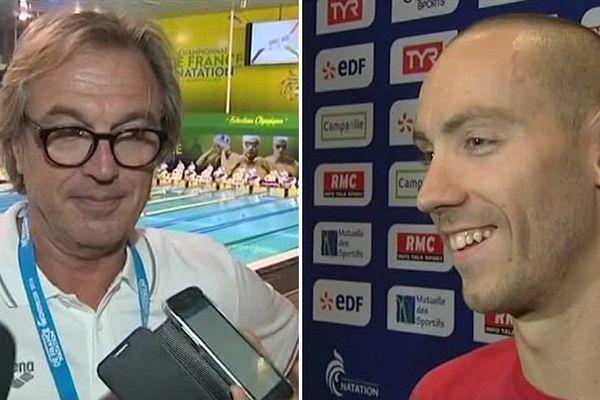 Michel Chrétien et son nageur Jérémy Stravius, au championnat de France de natation 2016 à Montpellier.