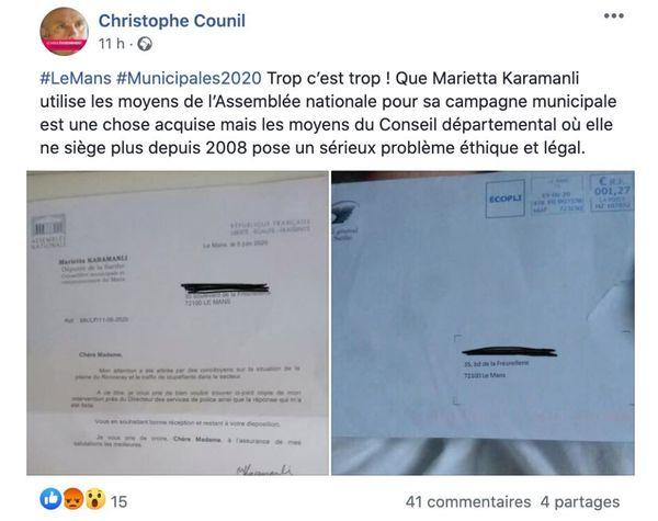 Capture d'écran du tweet de Christophe Counil, le 24 juin 2020