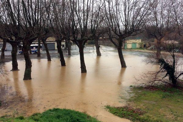 La Cesse en crue à Bize-Minervois dans l'Aude le 14 février 2017