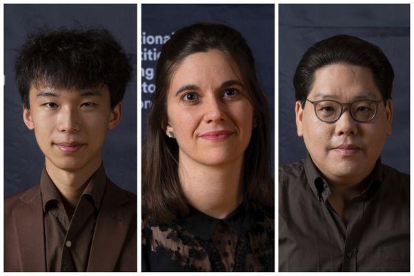 Les trois finalistes du 57e concours international de jeunes chefs d'orchestre. De gauche à droite : Jiong-Jie Yin, Chloé Dufresne et Deun Lee.
