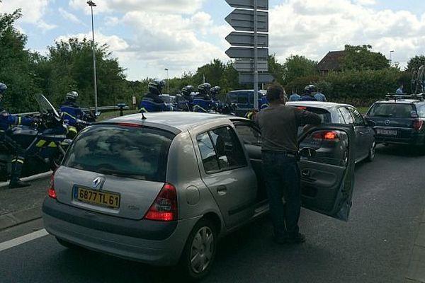 Circulation bloquée à Bénouville le 5 juin 2014
