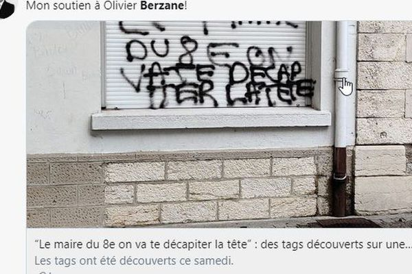 Les tags menaçants ont été inscrits sur la façade d'une école du 8° arrondissement de Lyon.