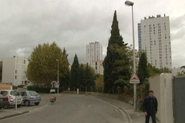 L'homme s'est écroulé ici à l'entrée de la cité Vistes, touché de plusieurs balles dans le dos alors qu'il tentait de fuir