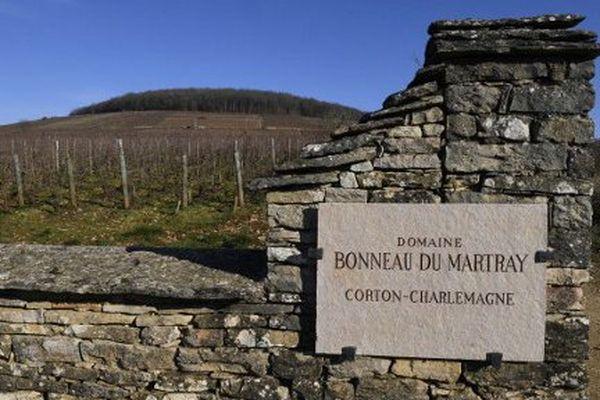 Le domaine Bonneau du Martray, à Pernand-Vergelesses , avec la colline de Corton et son bois en arrière-plan (Côte-d'Or)