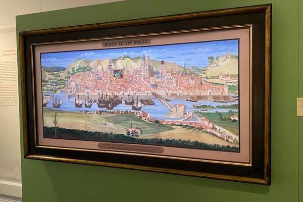 """Rouen - Le manuscrit illustré le plus célèbre du """"Livre des Fontaines"""" : la grande vue de Rouen en 1525"""