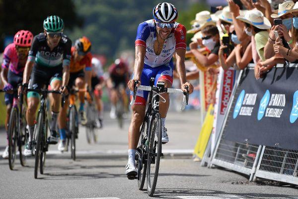 Thibaut Pinot à l'arrivée de la troisième étape du Critérium du Dauphiné 2020.