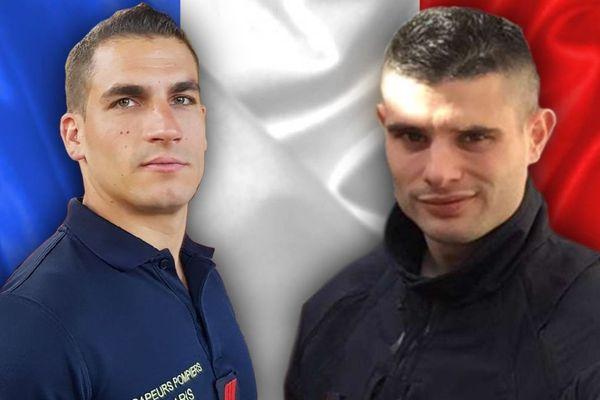 Simon Cartannaz (à gauche) et Nathanaël Josselin (à droite), les deux pompiers qui ont péri dans l'explosion qui s'est produite dans le 9e arrondissement de Paris samedi 12 janvier 2019.
