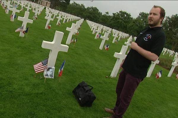 Florent Plana au cimetière américain de Colleville sur Mer