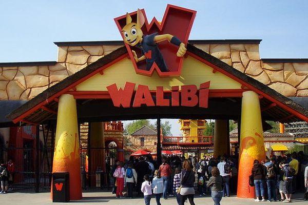 L'entrée du parc Walibi à Wavre près de Bruxelles (Belgique).