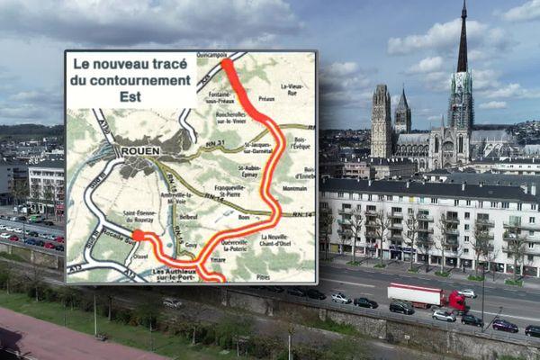 Le tracé du projet de contournement de Rouen par une autoroute à péage