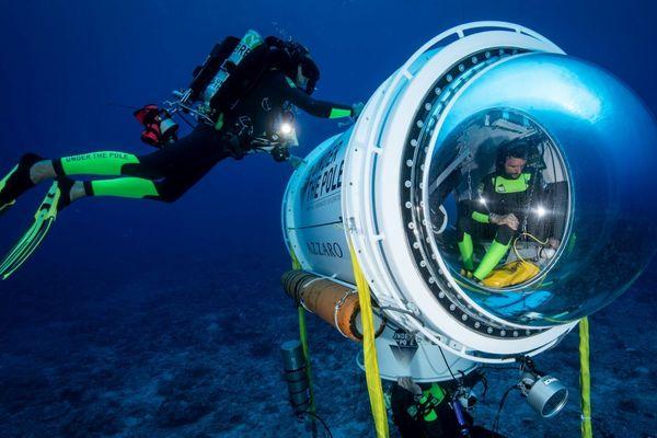 """La capsule conçue par l'équipe de l'expédition"""" Under the pole"""" en plongée profonde"""