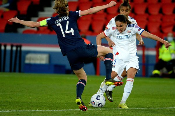 Paris, le 24/03/2021 : Amle Majri lors du quart-de-finale de l'UEFA Women's Champions League. La Lyonnaise a été l'une des premières testées positives Covid après ce match contre le PSG.