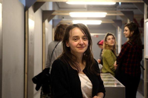 Marion Montaigne, lors du festival international de la bande dessinée d'Angoulême, en 2018, lors d'une exposition consacrée à son oeuvre.