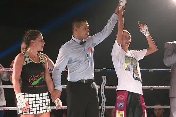 28 Octobre 2017, victoire aux points et à l'unanimité des trois juges pour Justine Lallemand.
