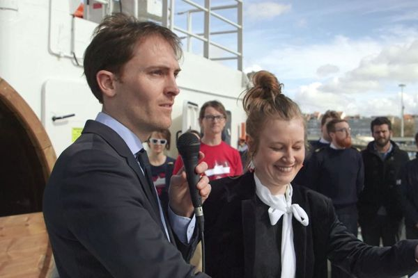 Yann le Bellec et Sophie Galvagnon lors de l'inauguration du Polarfront