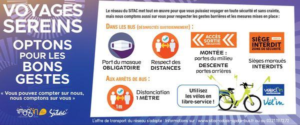 Les consignes sanitaires à respecter en empruntant les bus de Calais Opale Bus