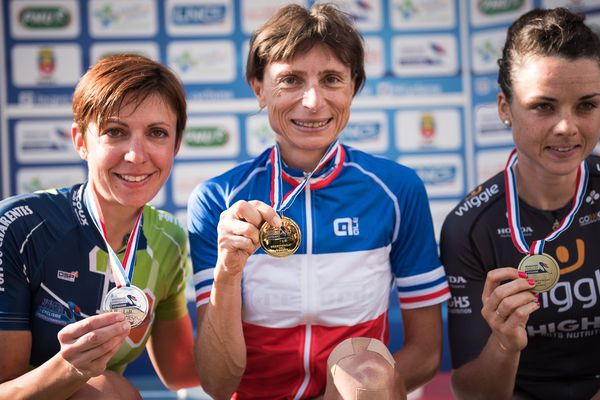 Podium élite Dames des championnats de France de cyclisme sur route
