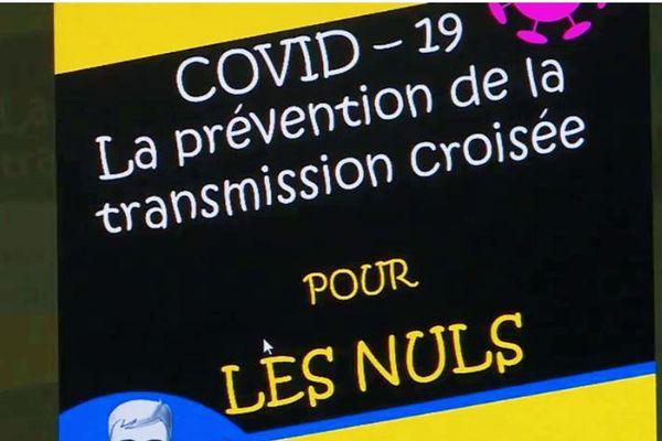 """Couverture du fascicule """"Covid-19 : la prévention de la transmission croisée pour les nuls"""" distribué aux personnels de l'Ehpad """"La Saône"""""""
