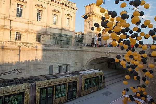 Montpellier - le bouclage de la ligne 4 de tram fête ses un an - 2 juillet 2017.