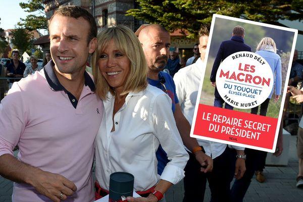 """Emmanuel et Brigitte Macron au Touquet en 2018. En médaillon, le livre """"Les Macron du Touquet Elysée-plage"""""""