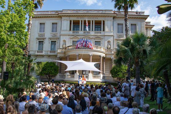 Un hommage aux victimes de l'attentat de Nice, le 14 juillet 2019, dans les jardins de la villa Masséna.